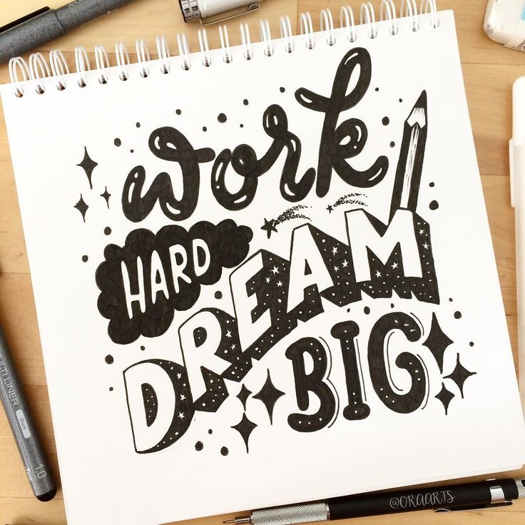 "543 Likes, 19 Comments - Ora Arts (@oraarts) on Instagram: ""Work Hard DREAM Big! ✏️✍️ Jumping back in day 13 of #JanuaryLetteringMotivation . . And 14/365…"""