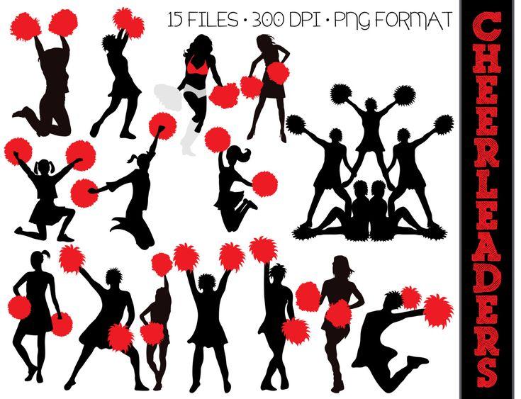 Cheerleaders Cheering Clipart #1