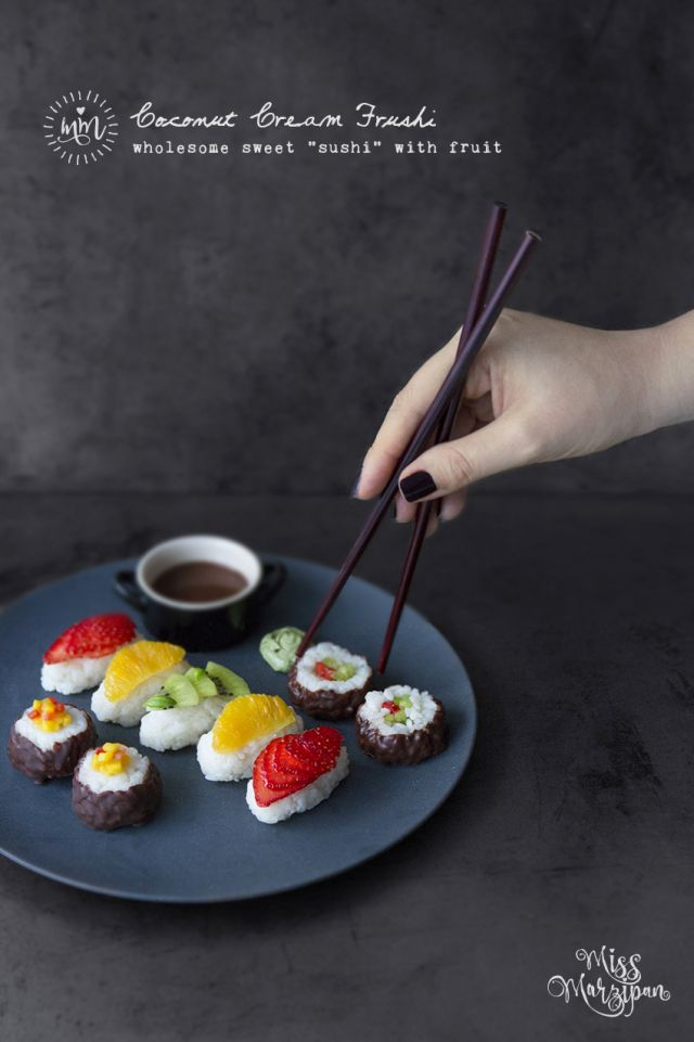 "COCONUT CREAM FRUSHI (wholesome sweet ""sushi"" with fresh fruit)"