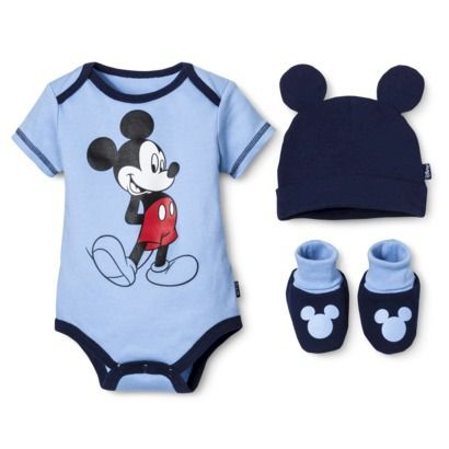 Disney 174 Newborn Boys 3 Piece Mickey Mouse Gift Set Blue