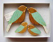 Wooden Wall birds - Family sets. £32.00, via Etsy.