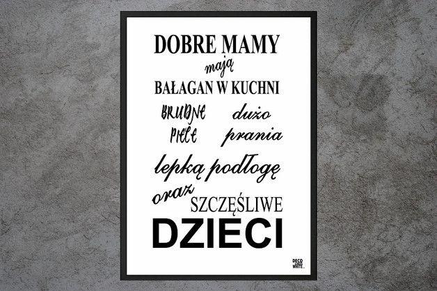 PLAKAT TYPOGRAFICZNY DOBRE MAMY PREZENT 21x30 cm - deco_likes_white - Wydruki cyfrowe