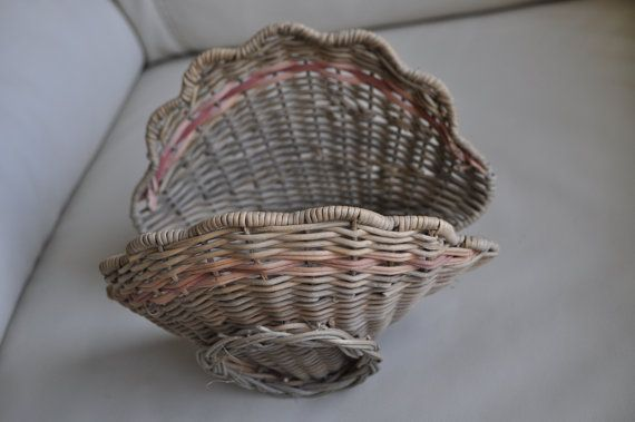 Vintage wicker hand woven basket. Original shell design turned into a storage space.