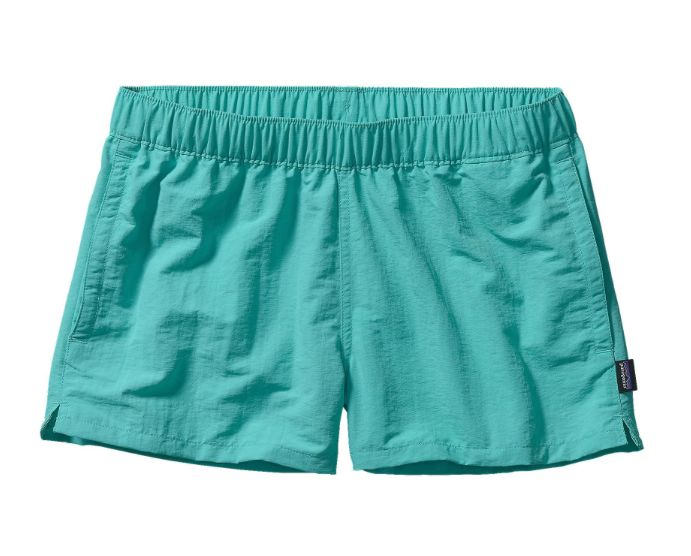 These Patagonia Women's Barely Baggies™ Shorts in Howling Turquoise have a lower rise and shorter inseam than the originals, but are made of the same high quality you remember. - Made of 100% Supplex®