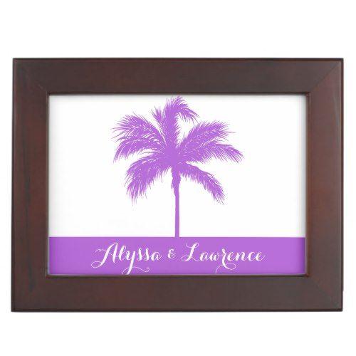 Palm Tree Purple Wedding Keepsake Box