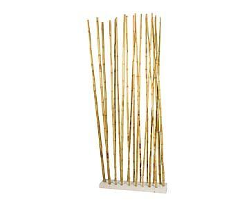 Separador de madera DM y cañas de bambú, blanco - 85x215 cm