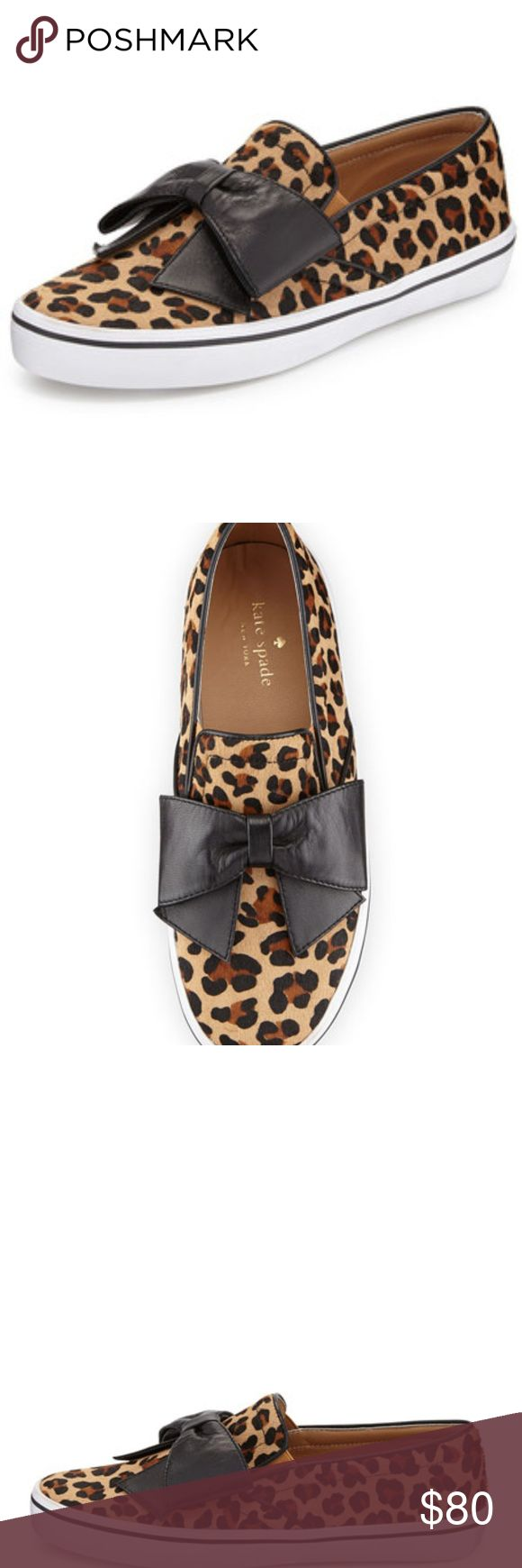 """New Kate Spade Animal Print Slipper Size 6 Brand: Kate Spade New York  Size: 6  Condition: New  Leopard-print calf hair gives this kate spade new york slip-on a fun, textured lift. kate spade new york leopard-print calf hair shoe. Dyed calf hair (China). Oversized napa leather bow at vamp. Notched vamp with elastic insets. Leather lining and insole. Flat rubber sole for traction. """"delise"""" is imported kate spade Shoes Slippers"""