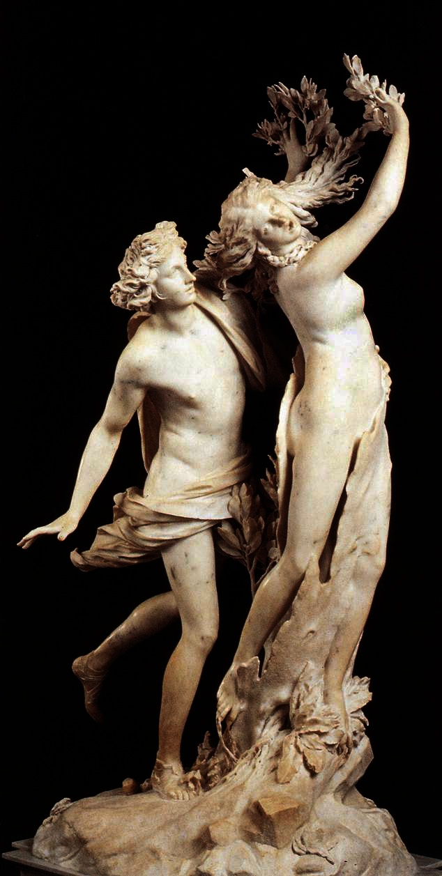 Apollo and Daphne - Bernini; and the myth as described in the Metamorphoses by Ovid.  Borgese Palace