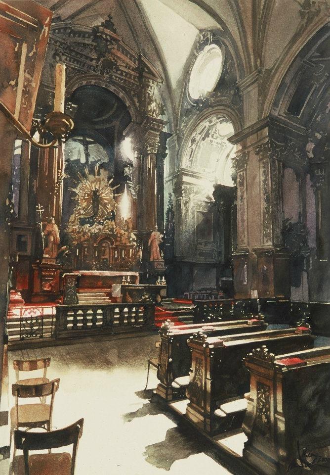Paul Dmoch - La Nef - Franziskanerkirche à Vienne - 105 x 75 Aquarelle
