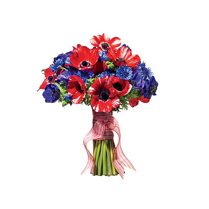 Brides.com: 17 Ideas for a Nautical-Themed Wedding. Punch It Up With a Bright Bouquet. Anemone and cornflower bouquet  See more anemone wedding flowers.