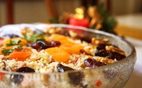 Arroz de Natal light com chester, frutas secas e goji berry