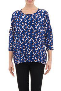"Stella McCartney woman ""Wilson"" blossom print blue silk blouse - LuxuryProductsOnline"