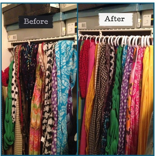 Dollar Tree DIY to organize your scarves If you do not have this space in your closet, use a wooden pants hanger and hang over a door instead.