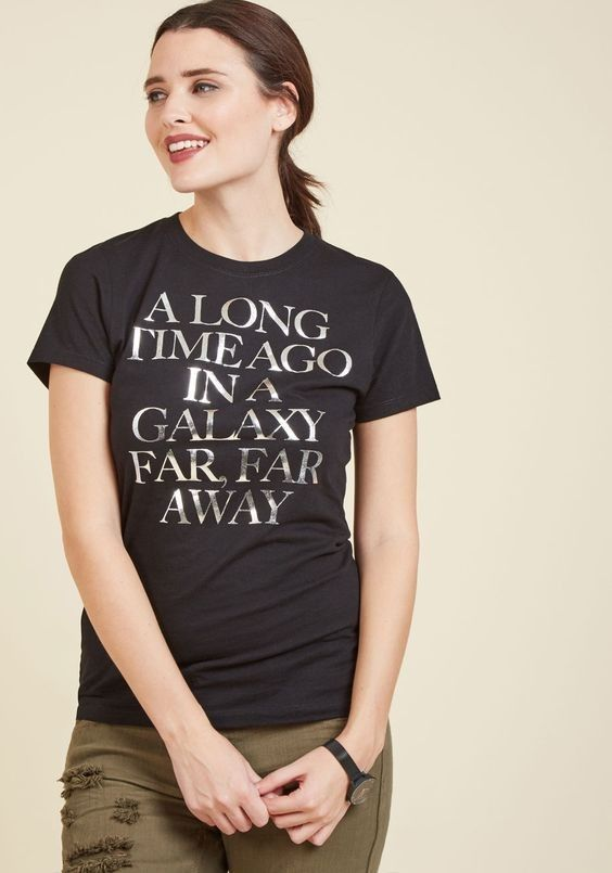 Women's Star Wars silver foil print t-shirt available at ModCloth