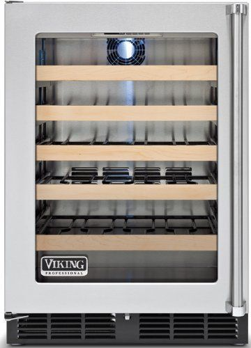 Viking VWCI1240GLSS 26 - 50 Bottle by Viking. $2699.00. Forced Air Cooling. 5 Full Extension Shelves. 700 BTU Compressor. 24-Bottle Capacity. LED Lighting. Viking Professional Series: VWCI1240GLSS 24'' Undercounter Wine Cellar with 45 Bottle Capacity, 5 Full Extension Shelves, Forced Air Cooling, 700 BTU Compressor, LED Lighting and Stainless Steel Cabinet: Left Hinge Door Swing