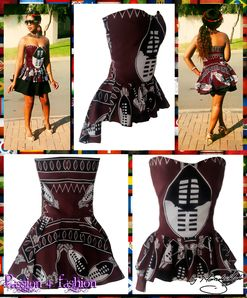 A modern traditional Swazi top in maroon. With soft sweetheart neckline and peplum. Peplum is longer at the back creating a hi-lo effect.