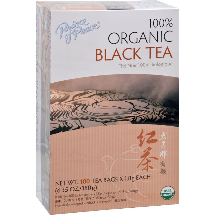 Prince of Peace Organic Black Tea - 100 Bags - Oolong Tea (also known as Wu Long Tea) is from the Wuyi District of Fujian Chinaalso known for its famous Rock Tea. Oolong is semi-fermented combining the qualities of black (richer taste) and green (antioxidants benefits) teas. Our oolong tea has a woody aroma and a full-bodied flavor. A typical cup of oolong tea has about 30-40mg of caffeine and cup of coffee ranges from 100-180mg.Product of China.Certified Organic by: IMO Switzerland.