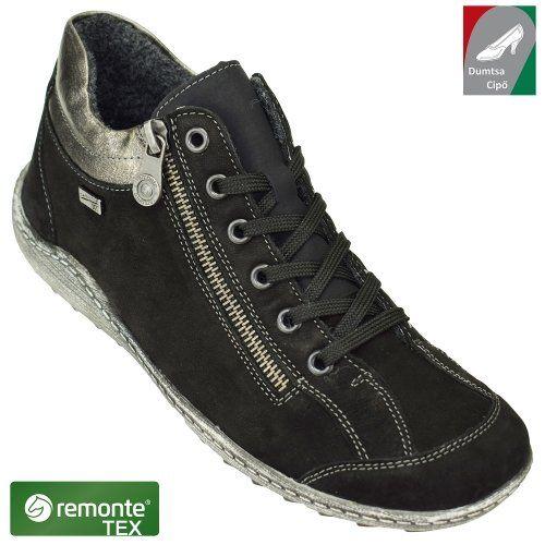 Remonte vízálló női bőr cipő R1483-02 fekete kombi