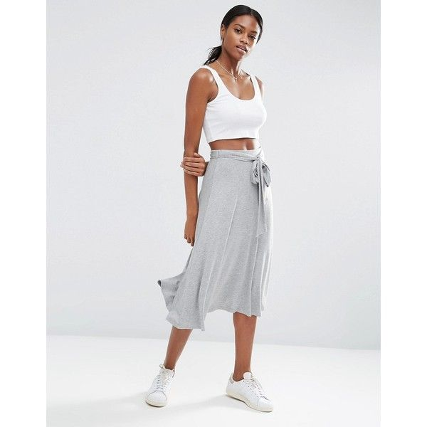 ASOS Midi Skater Skirt with Tie Knot ($32) ❤ liked on Polyvore featuring skirts, grey, gray skirt, high waisted flared skirts, circle skirts, skater skirts and flared midi skirt