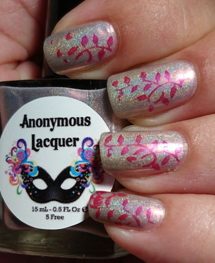 Anonymous lacquer come fairies stamped with dark pink