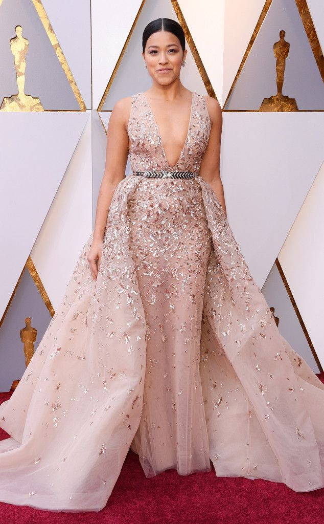 Gina Rodriguez from Standout Style Moments From Oscars 2018  The actress turned up the volume on the red carpet!