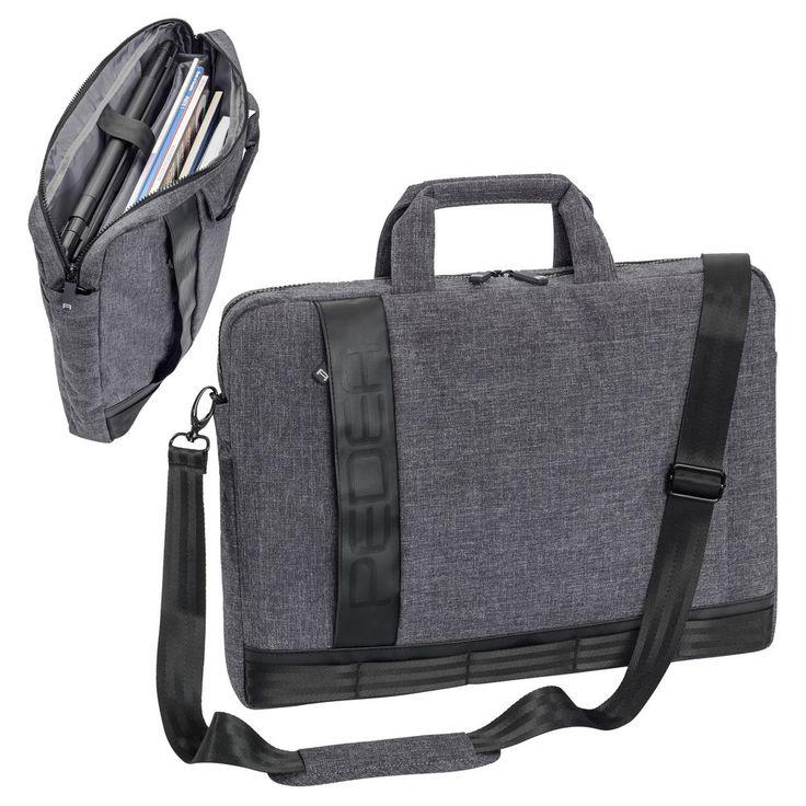 Notebooktasche Laptop Umhänge Tasche Case 17,3 Zoll mit Zubehörfächer, grau