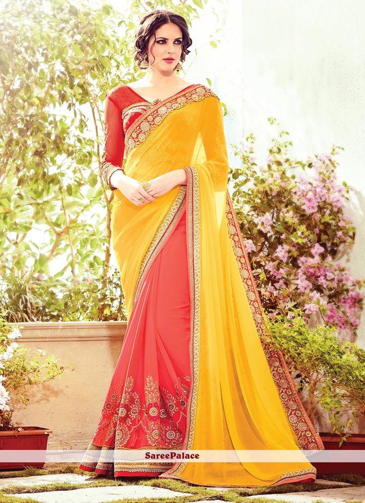 Yellow Patch Border Work Georgette Designer Saree