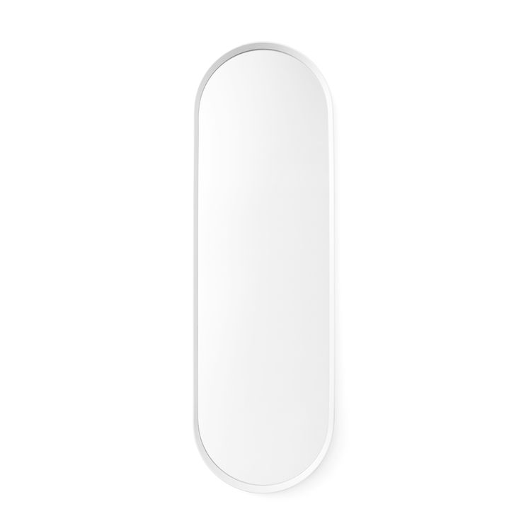 A minimalist wall mirror, made from a powder-coated metal frame with soft, rounded corners. The mirror can be hung both horizontally and vertically and makes an elegant addition to any hallway, bedroom and bathroom. Available in two colors. Designed by Norm Architects for Danish design company Menu.