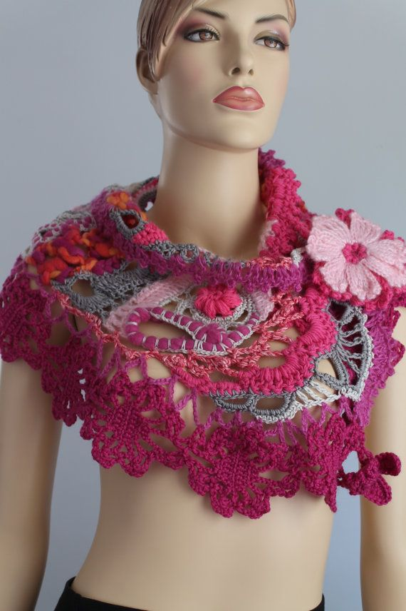 Freeform  Crochet Scarf   Wedding Scarf  Wearable by levintovich, $110.00