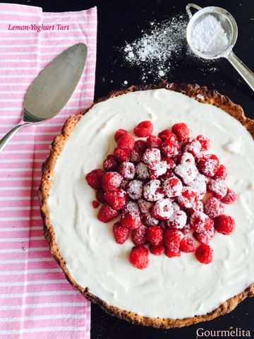 Lemon and Greek yoghurt tart.
