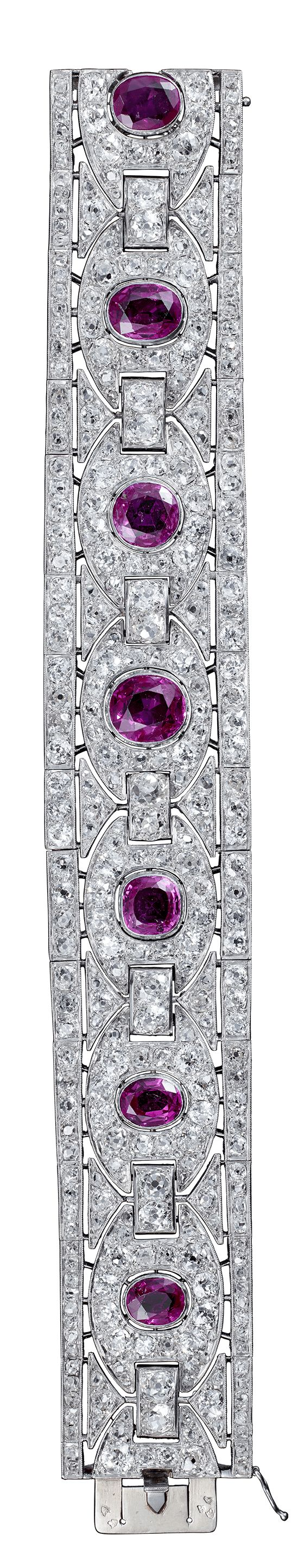 Marcel Chaumet - An Art Deco platinum, ruby and diamond bracelet, 1930-1940. #Chaumet #ArtDeco