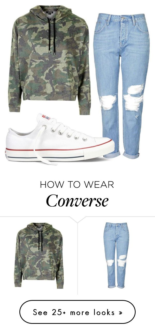 """""""Nina's Camo Hoodie"""" by neweditorial on Polyvore featuring Topshop and Converse"""
