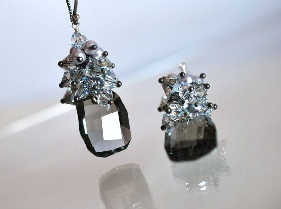 Night Out   Black Diamond Crystal Earrings by ChaninBijoux on Etsy, $74.00