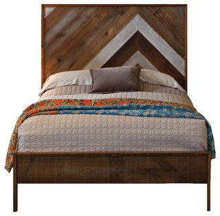 Reclaimed Chevron Bed, Queen - Rustic - Beds - by Urban Evolutions
