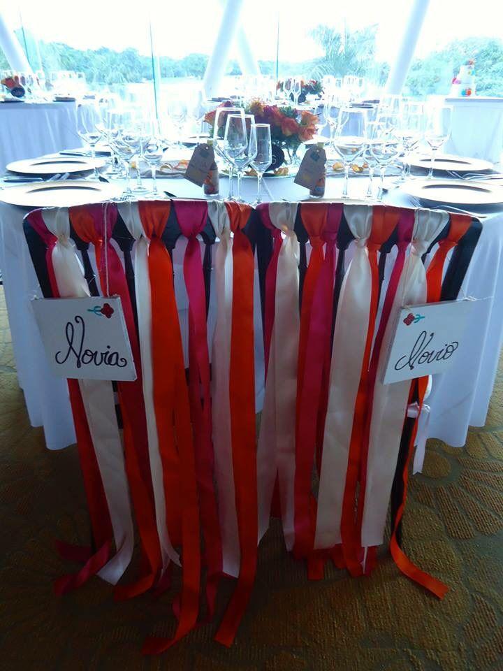 CBS124Weddings Riviera Maya / groom and bride chairs decoration, ribbons / decoración para silla de Novio y Novia