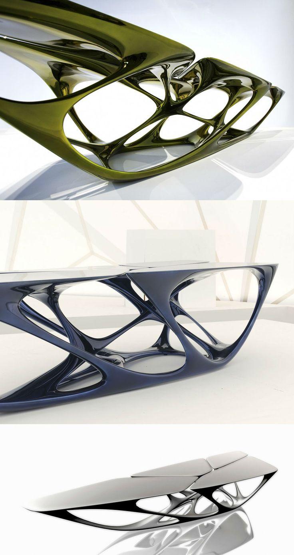 Mesa Table | Polyurethane base, Fiberglass top, Metallic paint finish | 4050 mm x 1650 mm x 700 mm |  Zaha Hadid Architects for Vitra | Design by Zaha Hadid with Patrik Schumacher