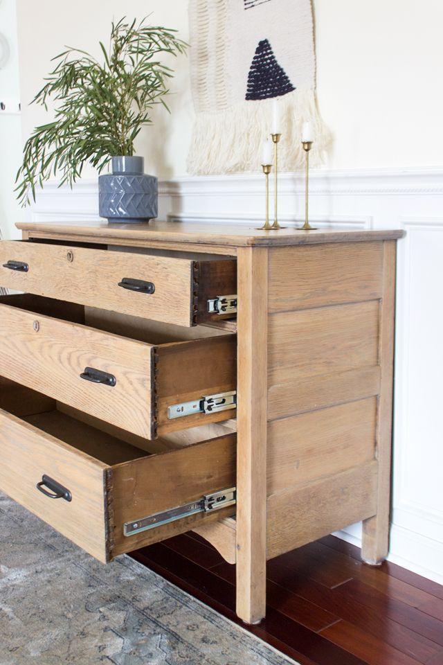 Vintage Dresser Gets A Modern Makeover Installing Drawer Slides Diy Furniture Furniture