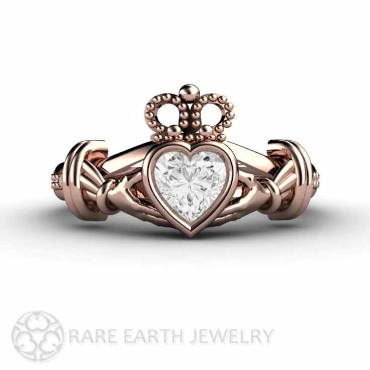 Diamond Claddagh Ring Irish Engagement Ring Promise Ring 14K White Yellow or Rose Gold Palladium by RareEarth on Etsy https://www.etsy.com/listing/186344248/diamond-claddagh-ring-irish-engagement