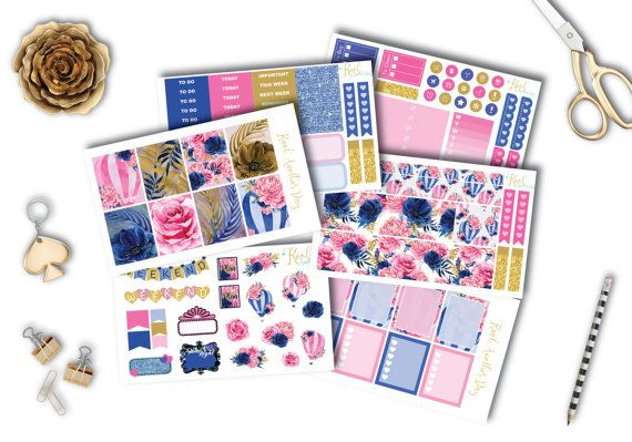 Blue Pink and Gold Floral Fantasy Planner by KnotAnotherDay