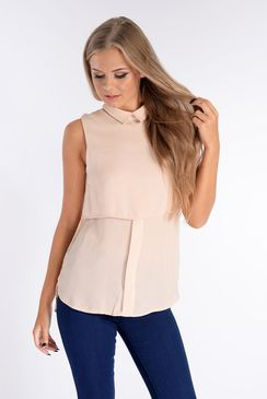 Catherine Nude Layered Collared Top