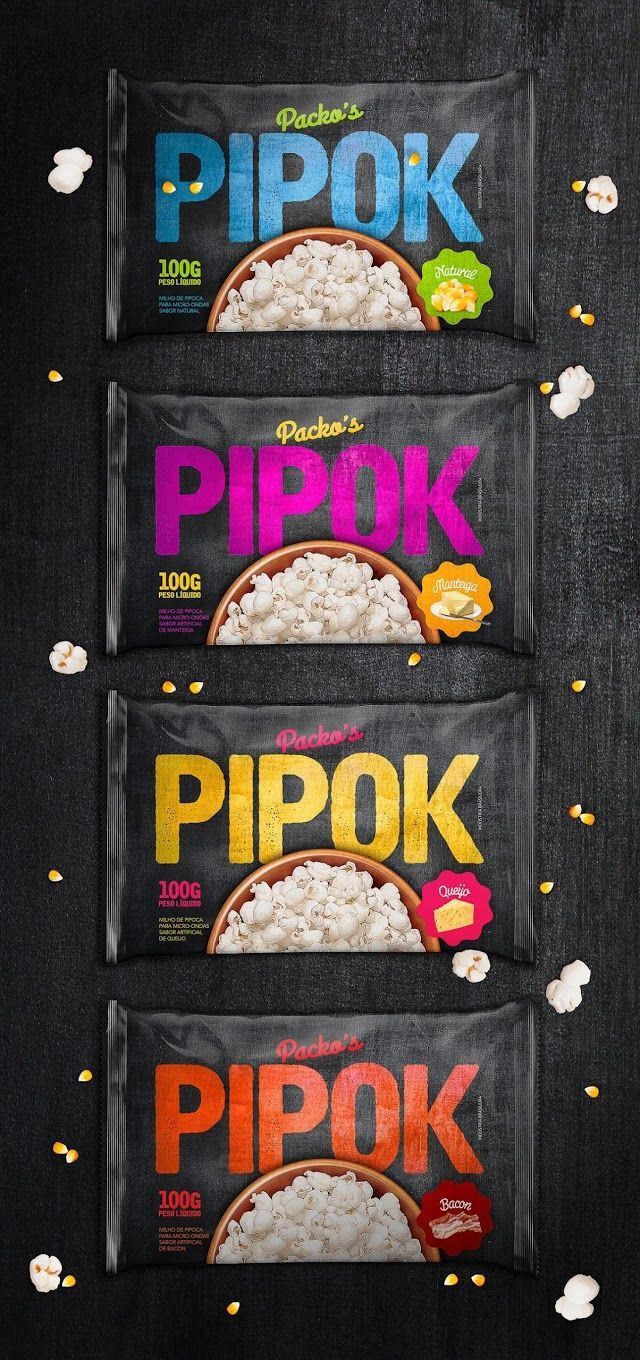 This Microwave Popcorn Packaging Uses Food Images to Show Flavors #branding trendhunter.com