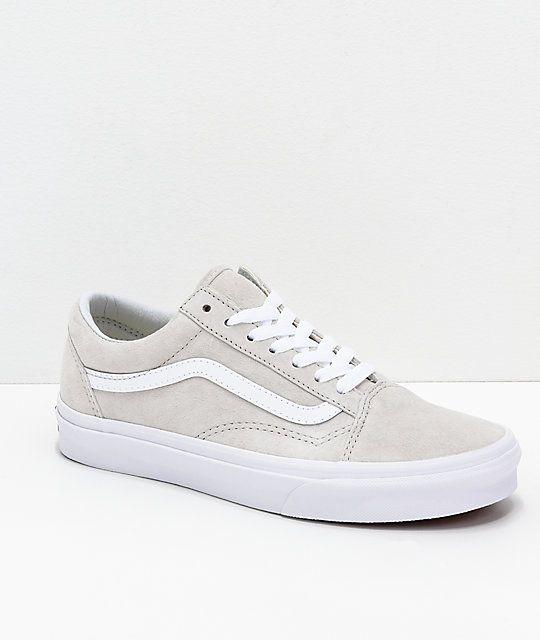 54fb1ba7cb5 Vans Old-Skool Moonbeam & White Pig Suede Skate Shoes in 2019 | Back ...