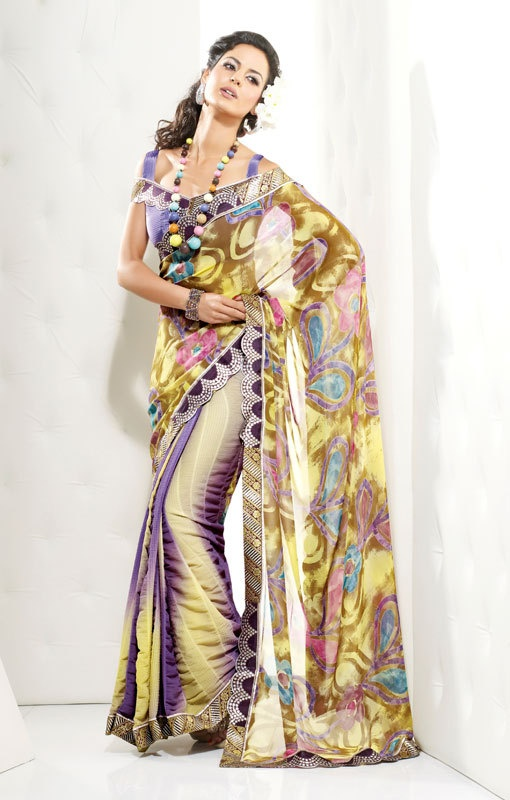 Printed Yellow Faux Georgette Sari by SassySaris on Etsy, $129.00