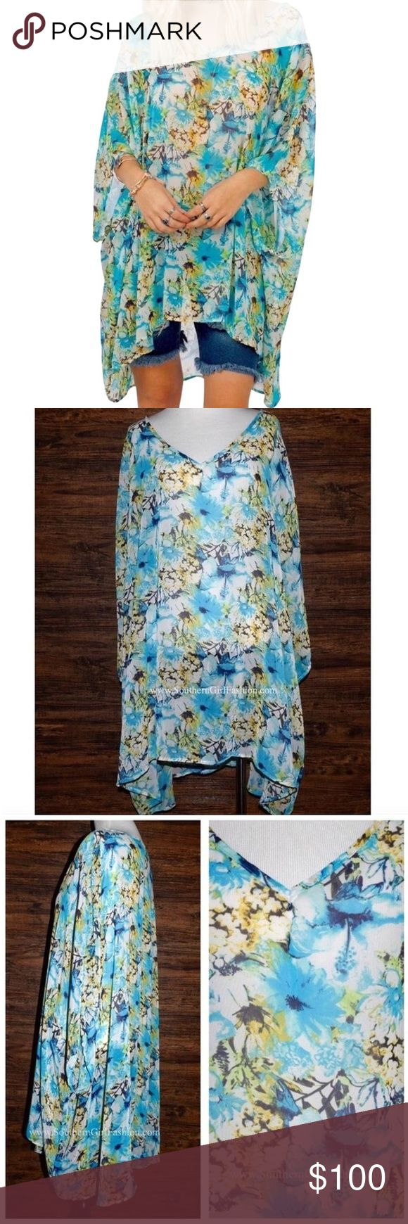 SWING TUNIC Bohemian Printed Pullover Kimono Top Available Sizes: Small and Medium.  Brand New.    • Gorgeous floral printed swing tunic featuring an effortless, loose-fitting silhouette. • Dropped oversized armholes.  • V-neckline adds sophistication. • Much prettier in person; blue, green & white.   • Polyester, unlined, made in the USA.  • Measurements provided in the comments section below.  {Southern Girl Fashion - Boutique Policy}   ✔️ Same-Business-Day Shipping (10am CT). ✔️ Price…