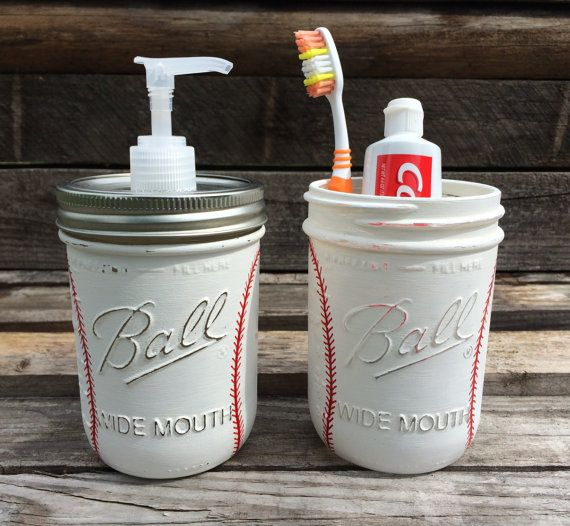 Hand Painted Baseball Soap Dispenser. Baseball Bathroom Set. Baseball Birthday Gift. Baseball Father's Day Gift. Sports.  Mason Jars