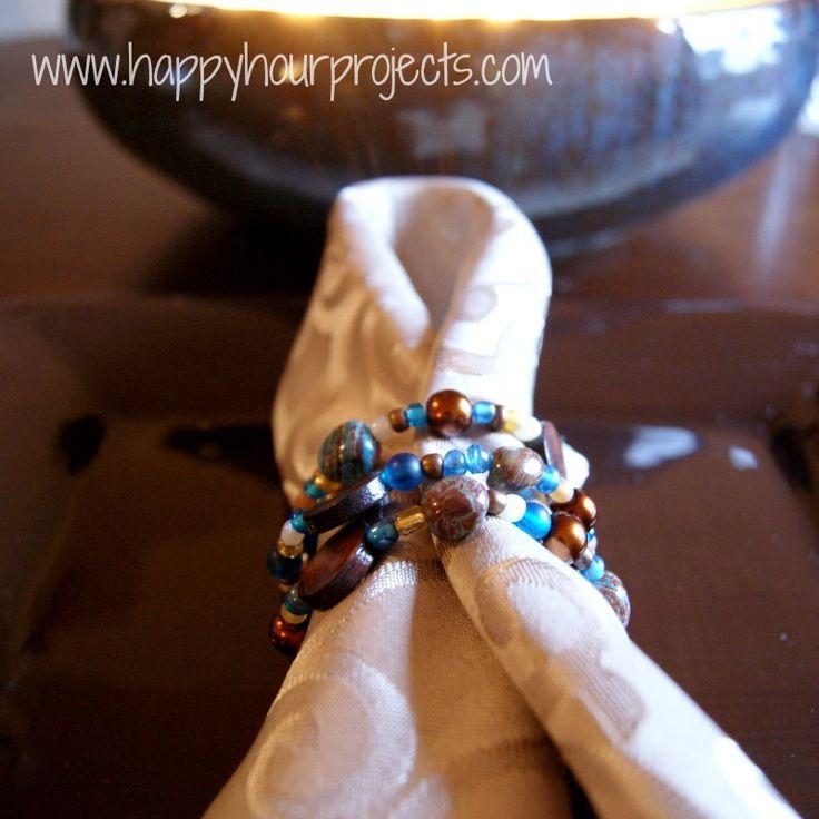 Easy Beaded Napkin Rings Looks easyI would use
