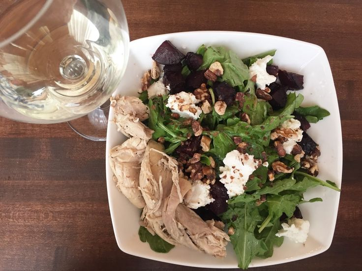 roasted beet salad |  local beets, arugula, walnuts, chèvre, smoked honey vinaigrette, pulled chicken {starbelly |  calgary, ab}