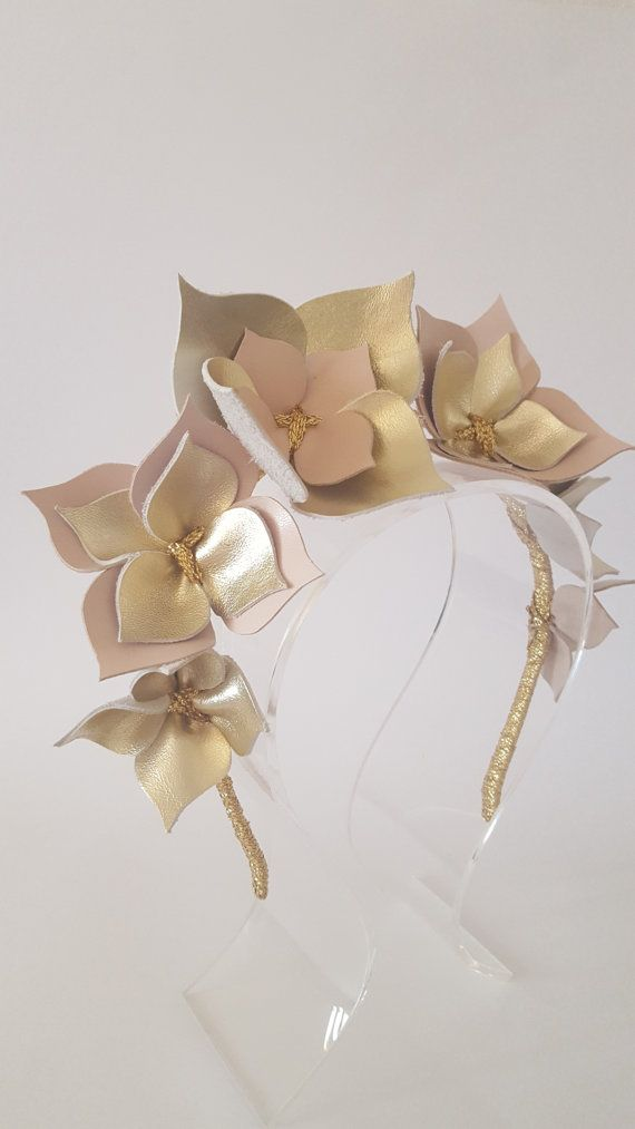Tramonto in pelle rosa & oro corona archetto di Emeraldhandmade