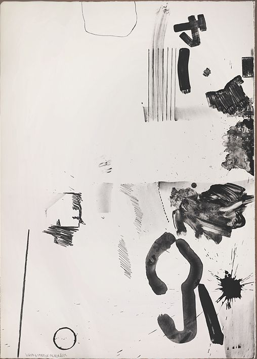 Robert Rauschenberg, White Stone in Black    have one or two completely random pages like this inserted into photobook - pure mark making, emotion and reflection of environments in previous photos