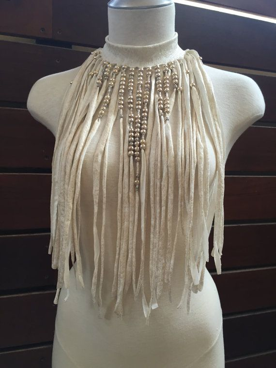 The AMAZON WARRIOR Ivory faux leather hand cut Fringe necklace-choker decorated with beads & chains  Fringe cut by hand out of high quality